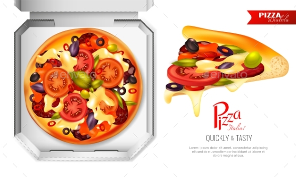 Pizza Box Composition - Food Objects
