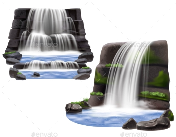 Waterfalls Realistic Compositions - Landscapes Nature