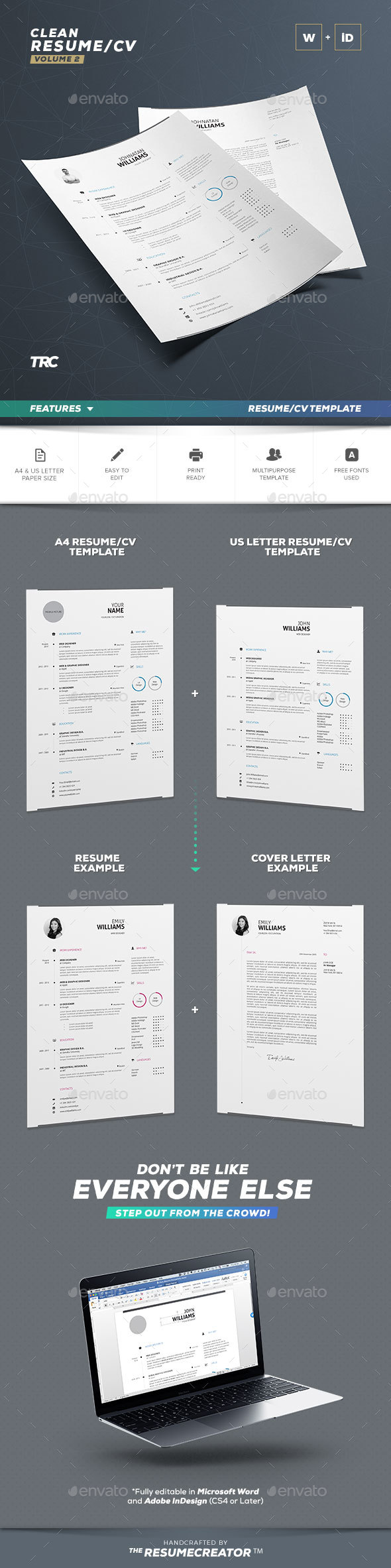 Clean Resume Vol. 2 - Resumes Stationery