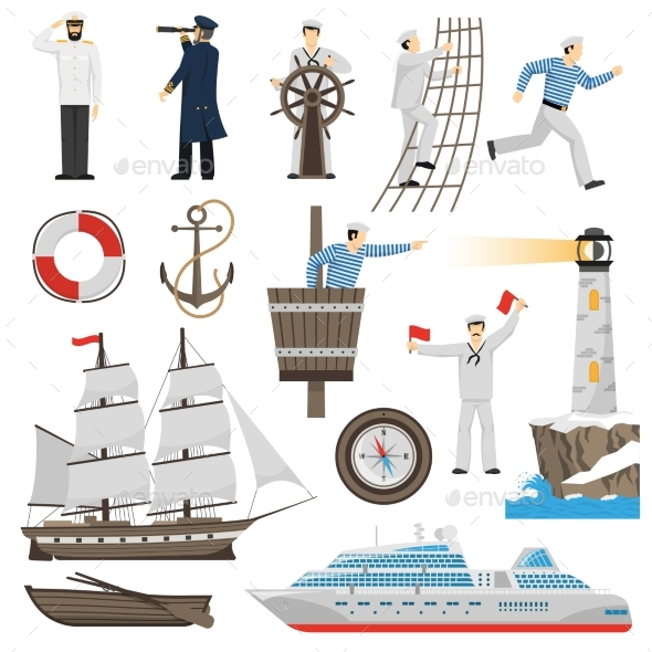 GraphicRiver Sailboat Vessel Attributes Icons Set 20533830