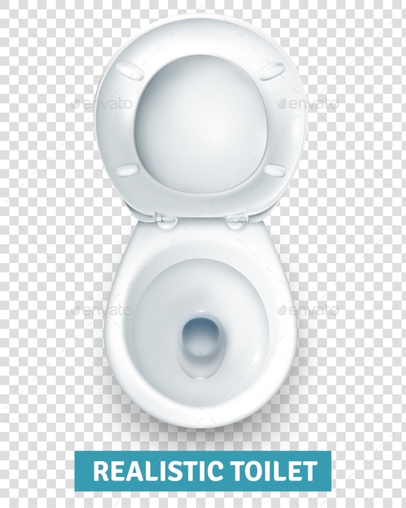 Realistic White Toilet Bowl Top View - Objects Vectors