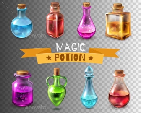 Potion Flasks Transparent Collection - Objects Vectors