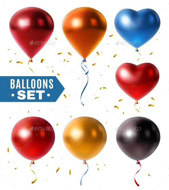 GraphicRiver Glossy Balloons And Golden Confetti Set 20533842