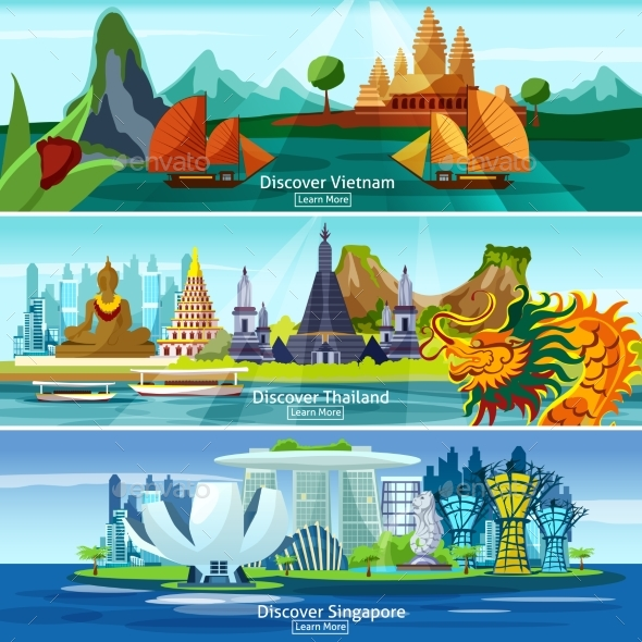 Asian Travel Banners - Backgrounds Decorative