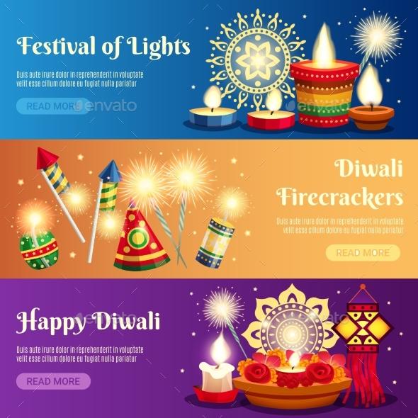 Diwali Horizontal Banners - Seasons/Holidays Conceptual
