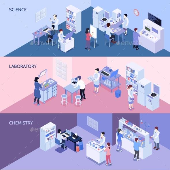 GraphicRiver Laboratory Horizontal Isometric Banners 20533930