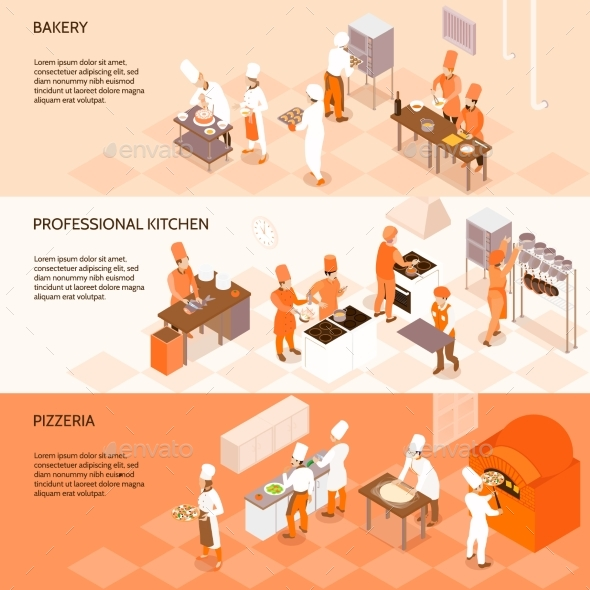 GraphicRiver Cooking Horizontal Isometric Banners 20533933