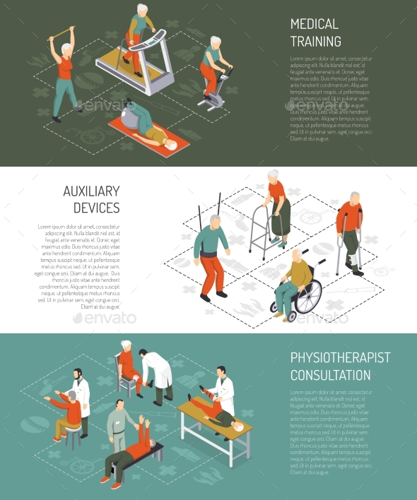 Rehabilitation Isometric Horizontal Banners - Health/Medicine Conceptual