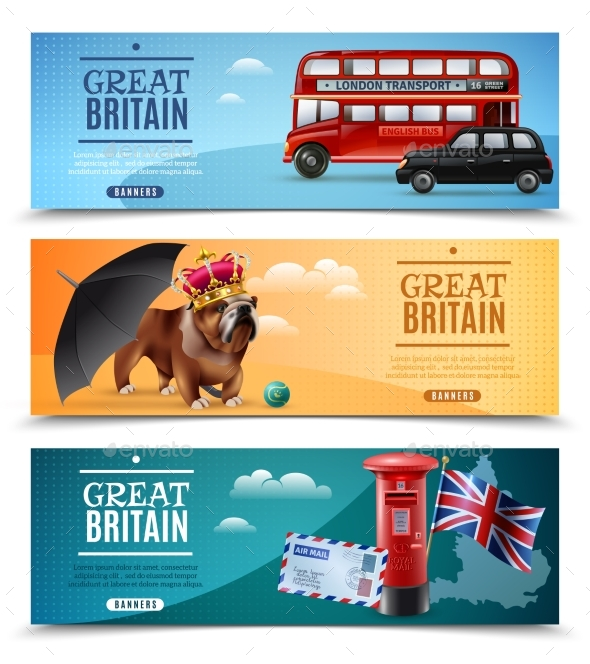 Great Britain Travel Horizontal Banners - Miscellaneous Vectors