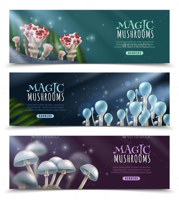 Magic Mushrooms Horizontal Banners Set - Nature Conceptual