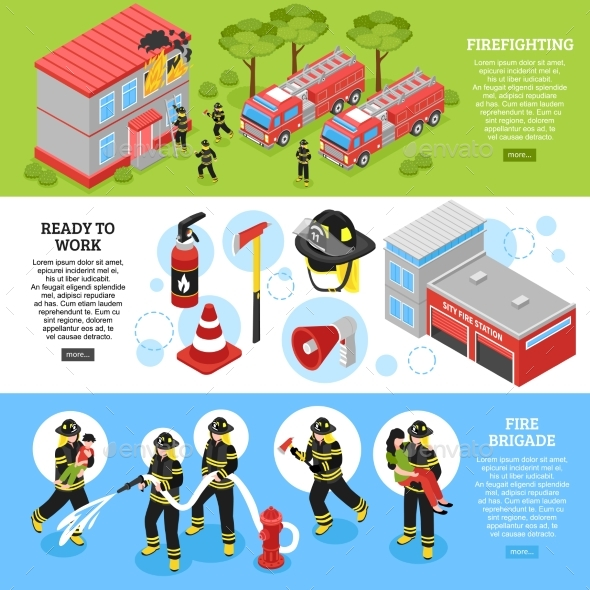 Isometric Firefighter Banners - Miscellaneous Vectors