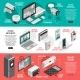 Isometric Smart Home Horizontal Banner Set