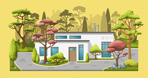Illustration of a Modern Family House with Trees - Buildings Objects