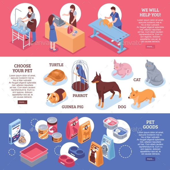 Isometric Pet Shop Horizontal Banner Set - Miscellaneous Vectors