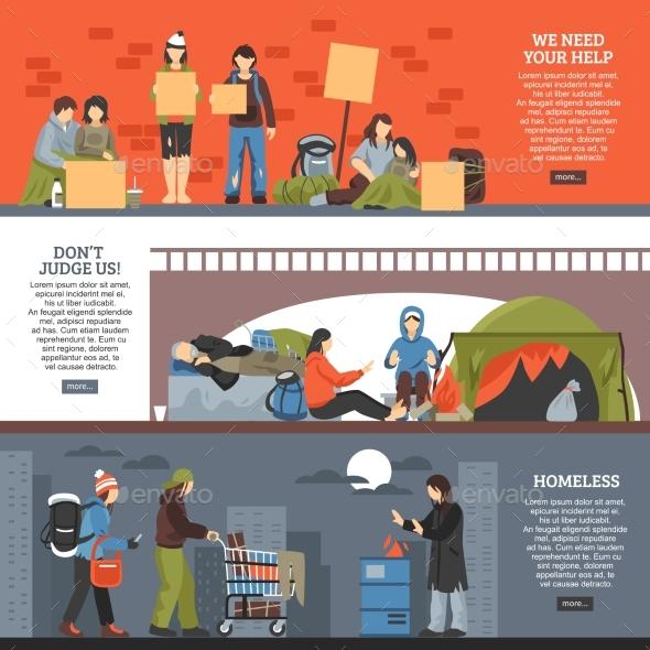 Homeless People Horizontal Banner Set - People Characters