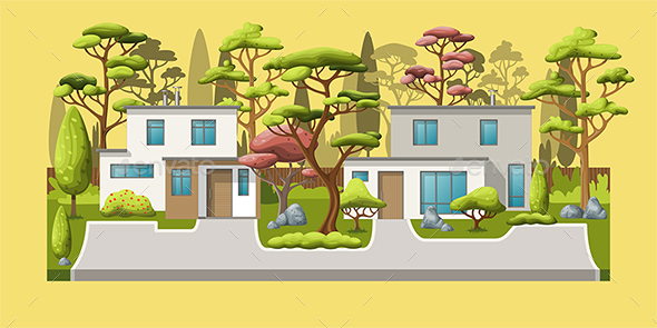 Family Houses with Trees - Buildings Objects