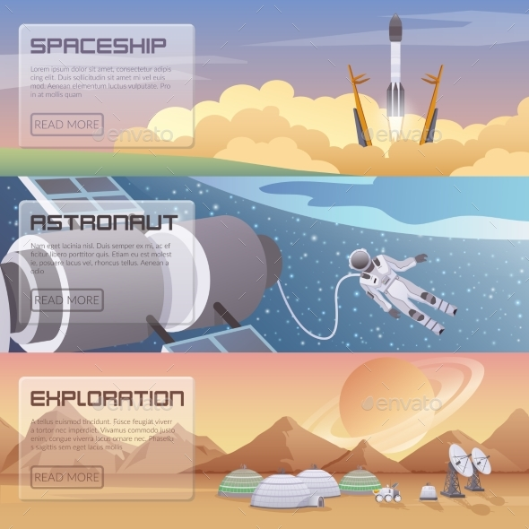 Space Discovery Horizontal Banners - Backgrounds Decorative