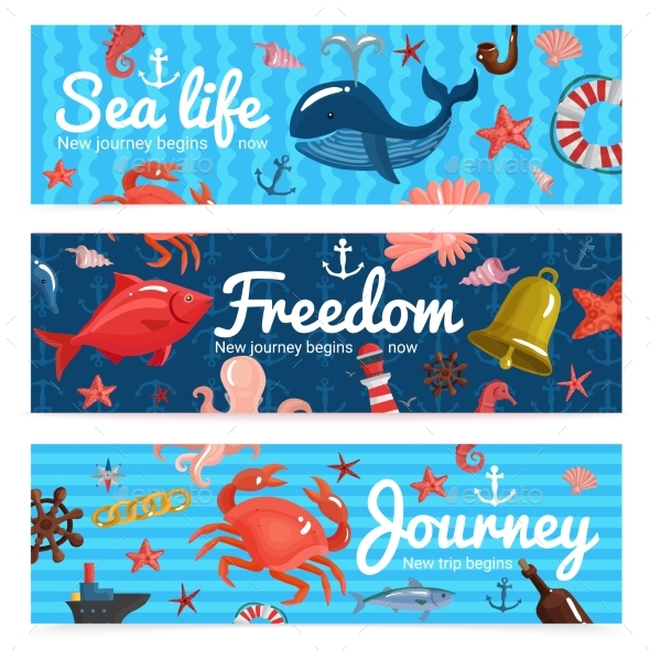 Sea Journey Horizontal Banners - Animals Characters