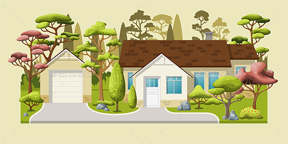 Family House with Trees - Buildings Objects