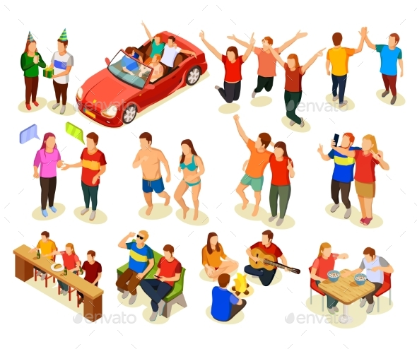 Friends Isometric Icons Set - People Characters