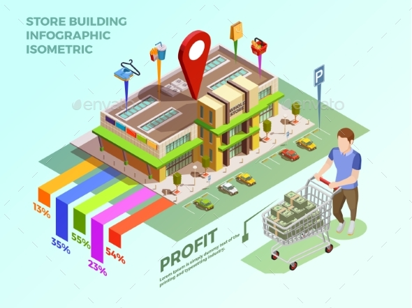 Store Infograhic Isometric Concept - Buildings Objects