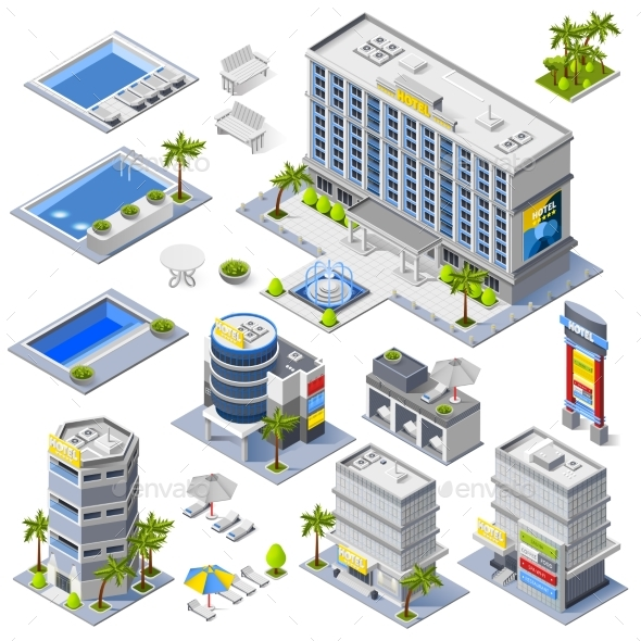 Luxury Hotel Buildings Isometric Icons - Buildings Objects