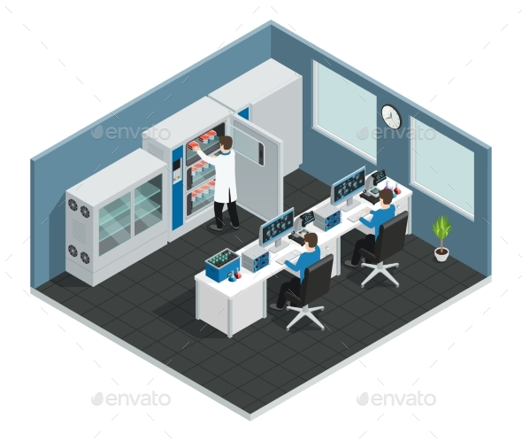 GraphicRiver Scientific Laboratory Isometric Workplace 20534067