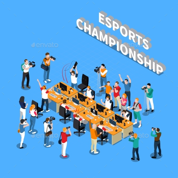 Esports Championship Isometric Composition - Sports/Activity Conceptual
