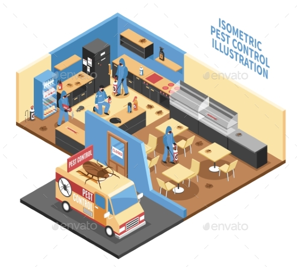 Pest Control In Cafe Isometric Illustration - Animals Characters