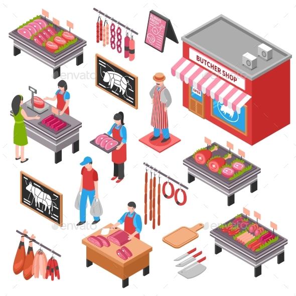 Butcher Shop Isometric Set - People Characters