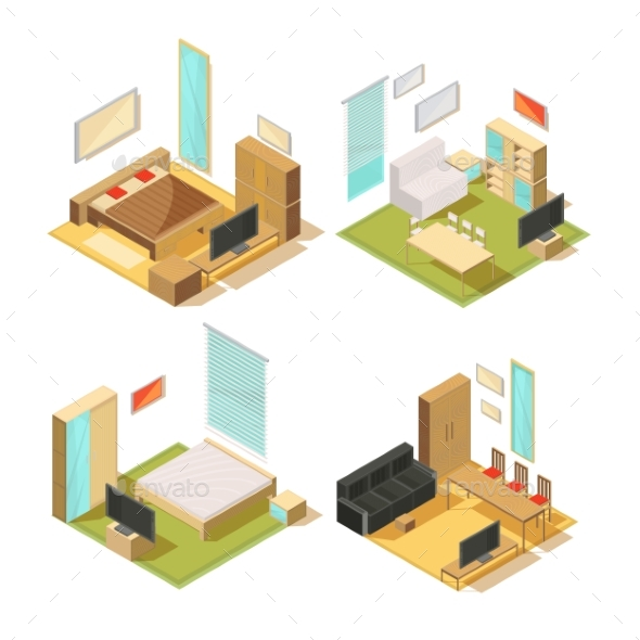 Flat Rooms Isometric Interiors - Buildings Objects