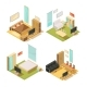 Flat Rooms Isometric Interiors