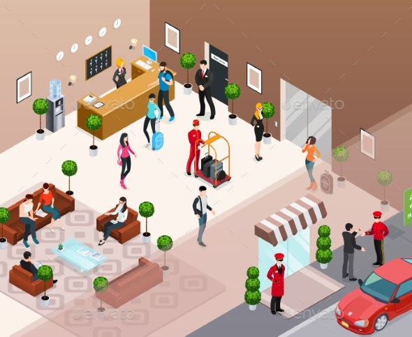 Hotel Interior Isometric Concept - Miscellaneous Vectors