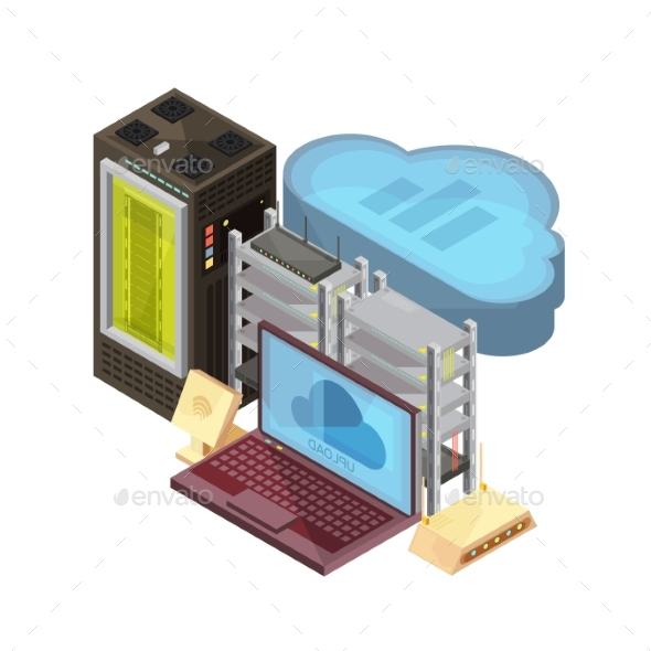 Data Cloud Isometric Composition - Computers Technology