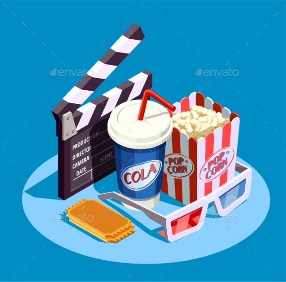 Isometric Cinema Icon Set - Miscellaneous Vectors