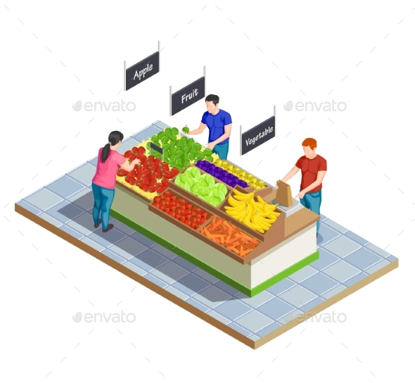 Food Market Isometric Composition - Food Objects