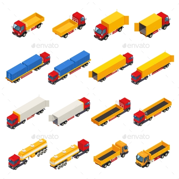 Trailer Trucks Isometric Collection - Man-made Objects Objects