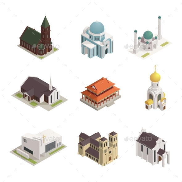 GraphicRiver Church Cathedral Mosque Isometric Icons 20534128