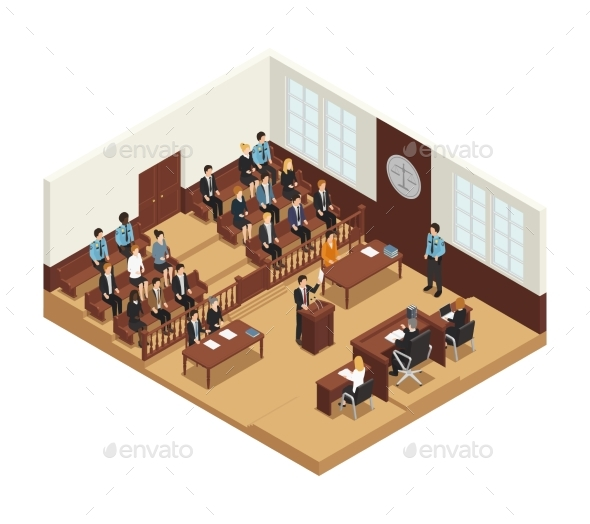 Law Justice Isometric Composition Poster - People Characters
