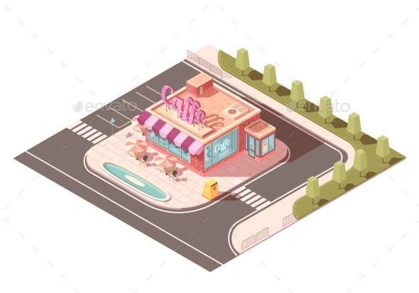 Cafe Outside View Isometric Design - Buildings Objects