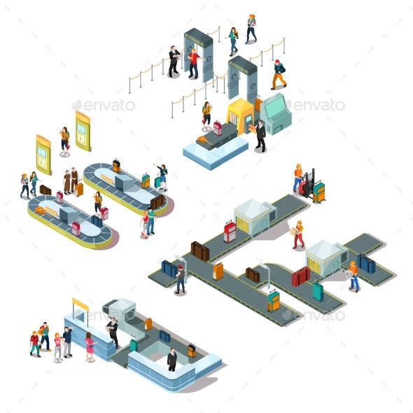 Airport Isometric Compositions - Objects Vectors