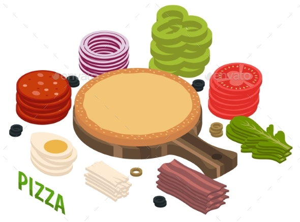 Pizza Isometric Composition - Food Objects