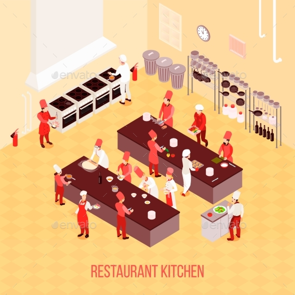Restaurant Kitchen Isometric Composition - Food Objects