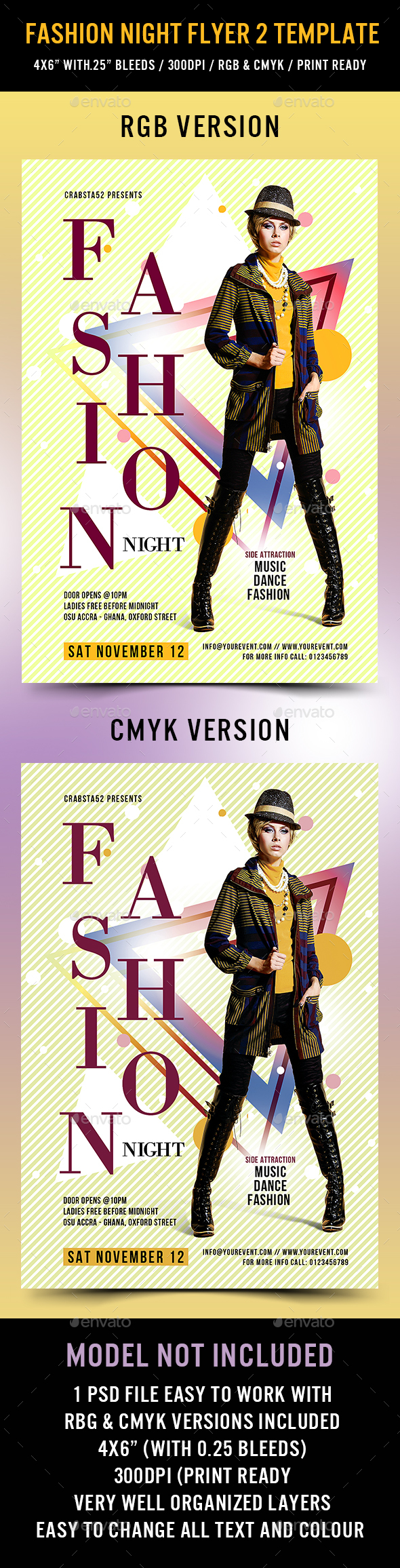 Fashion Night flyer Template 2 - Flyers Print Templates