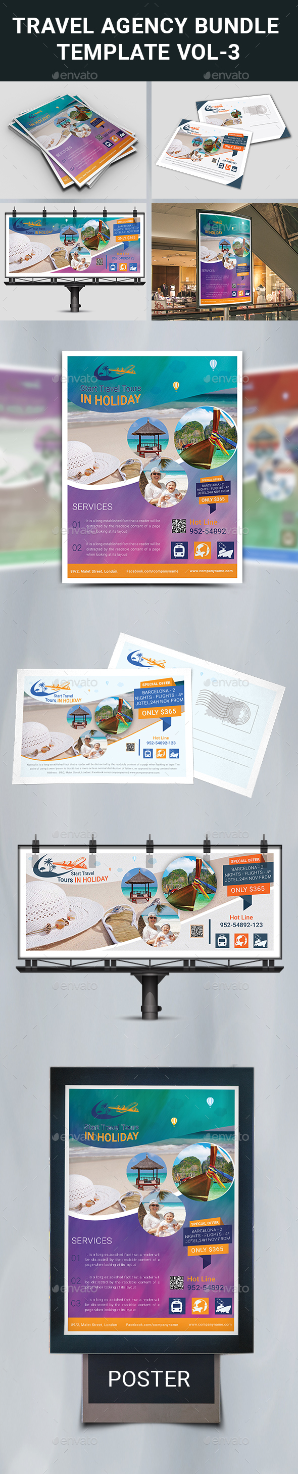 Travel Agency Bundle Template - Corporate Flyers