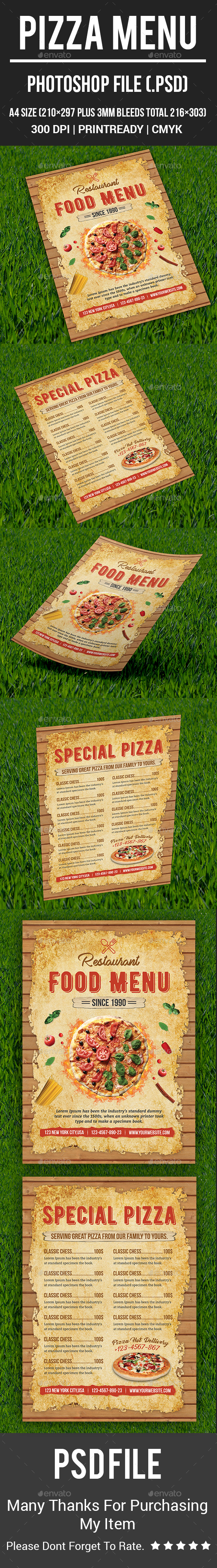 Pizza Menu - Food Menus Print Templates