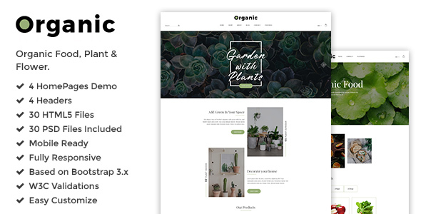 Organic - Responsive Plant, Flower & Organic Food Shop HTML5 Template - Food Retail