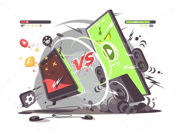 Battle of Smartphones Vs - Miscellaneous Vectors