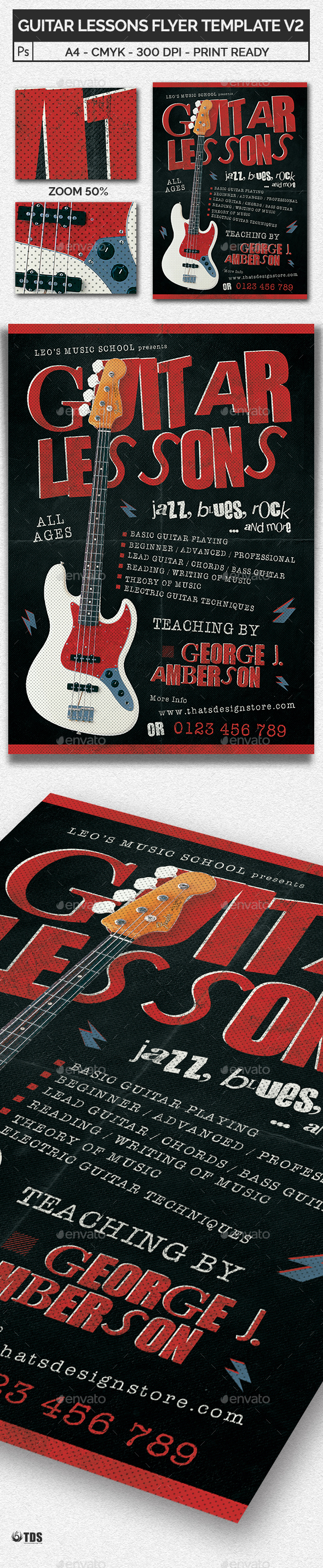 GraphicRiver Guitar Lessons Flyer Template V2 20525394