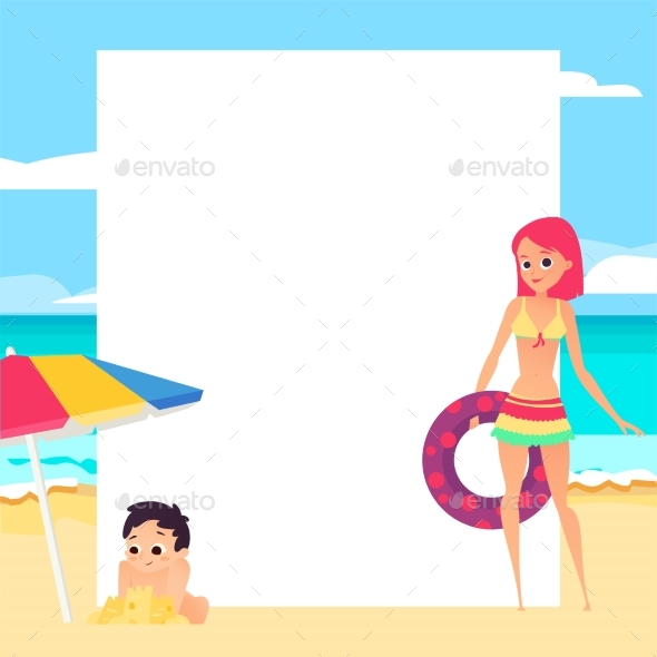 Beach Background - People Characters